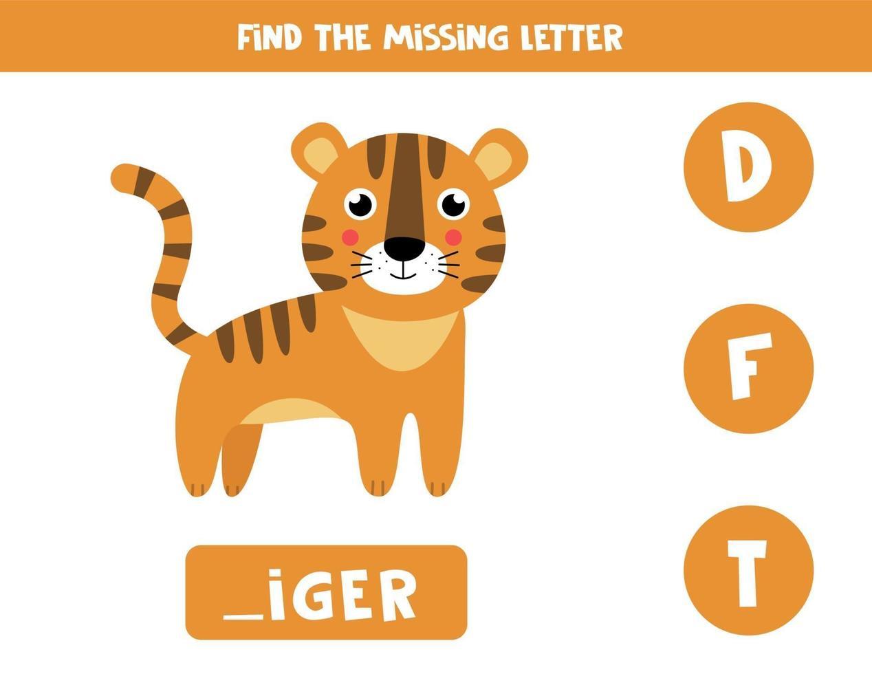zoek de ontbrekende letter en schrijf deze op. schattige cartoon tijger. vector