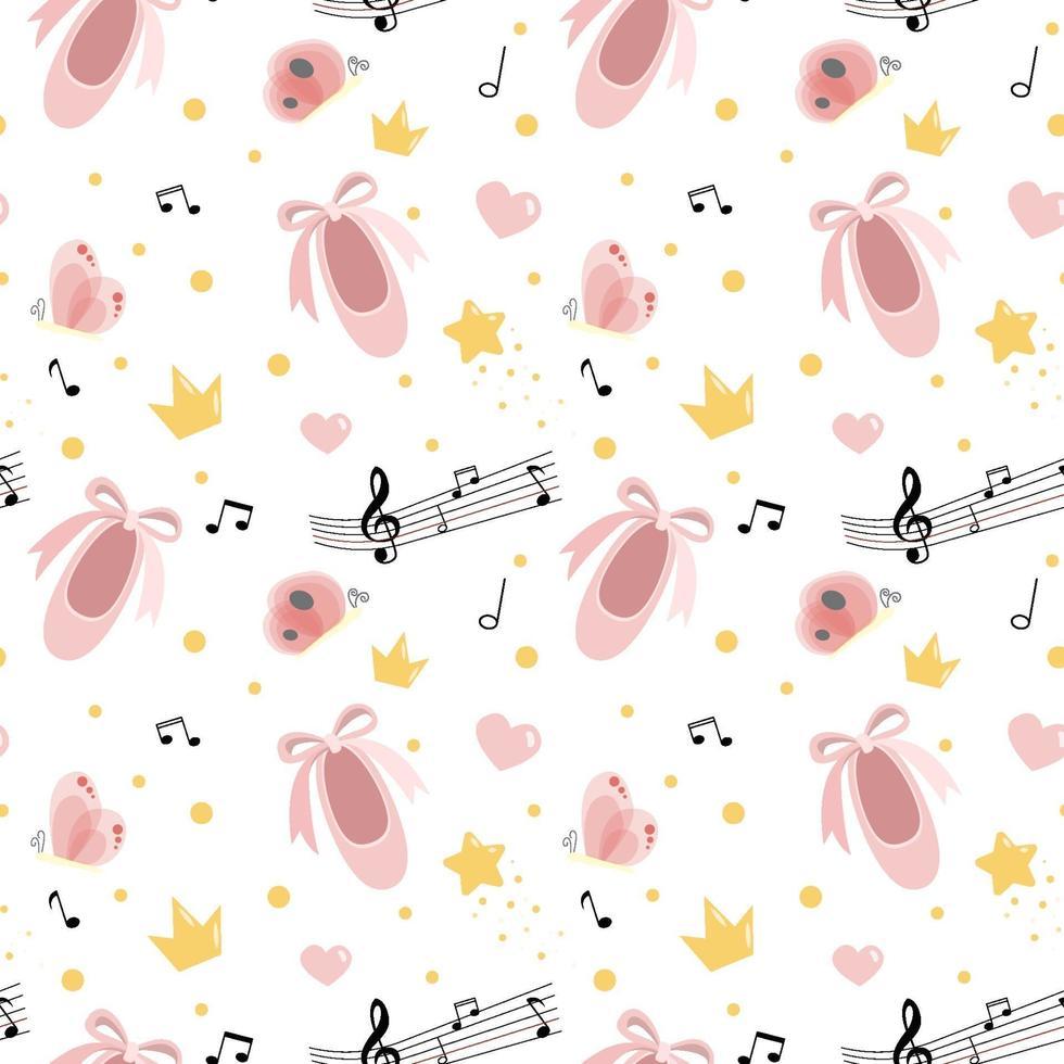 vector naadloze patroon met roze pointe-schoenen, harten, notities, vlinders, confetti en kronen. handgetekende ballet achtergrond. feest voor meisjes, kleine ballerina, babyshower.
