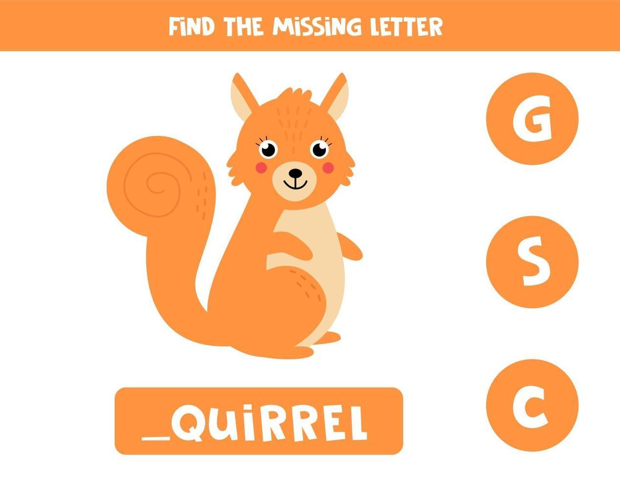 zoek de ontbrekende letter en schrijf deze op. schattige cartoon eekhoorn. vector
