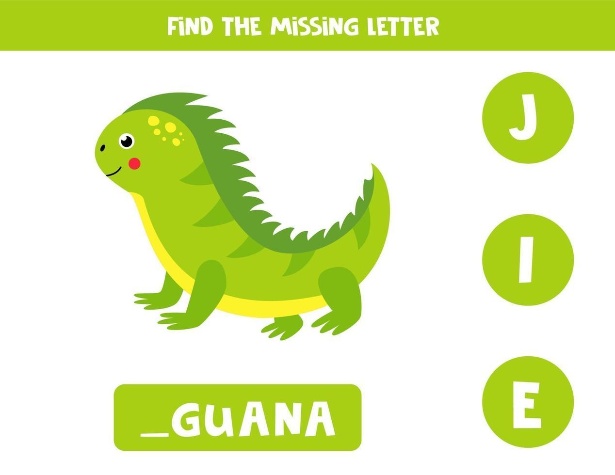 zoek de ontbrekende letter en schrijf deze op. schattige leguaan. vector