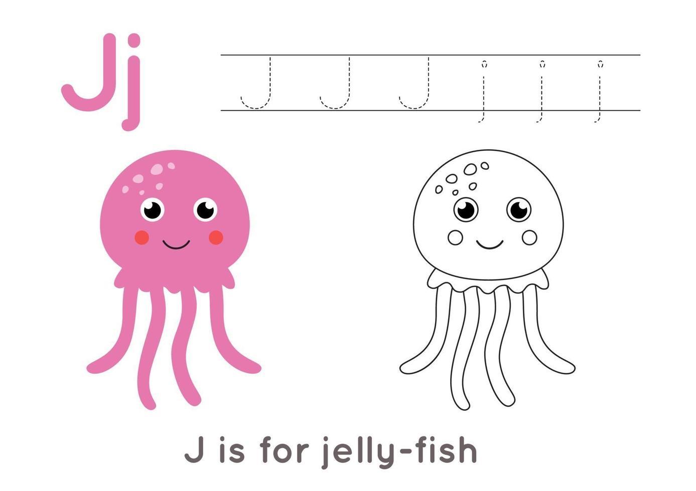 kleur- en tracering pagina met letter j en schattige cartoon kwallen. vector