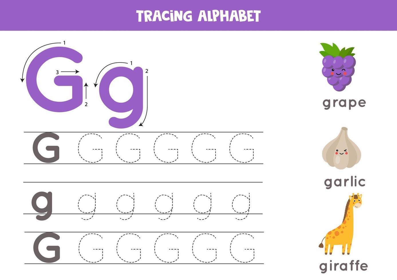 handschriftoefening met alfabetletter. traceren g. vector