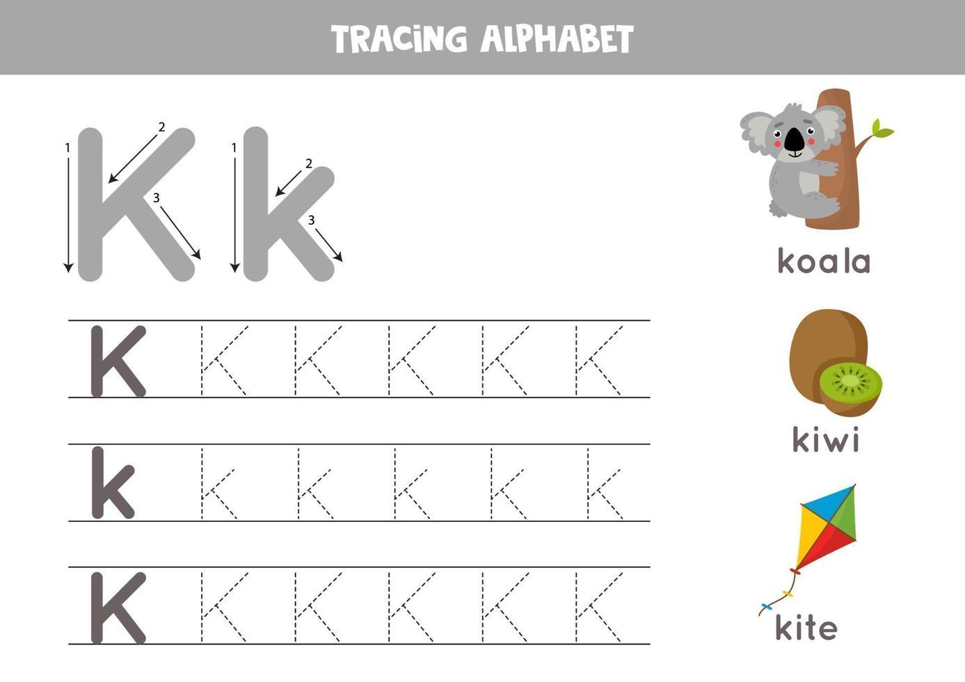 k is voor koala, kiwi, kite. tracing Engels alfabet werkblad. vector