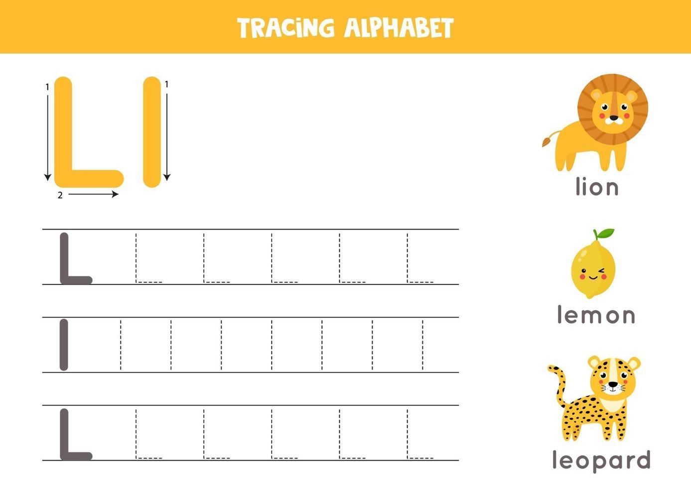 handschriftoefening met alfabetletter. traceren l. vector