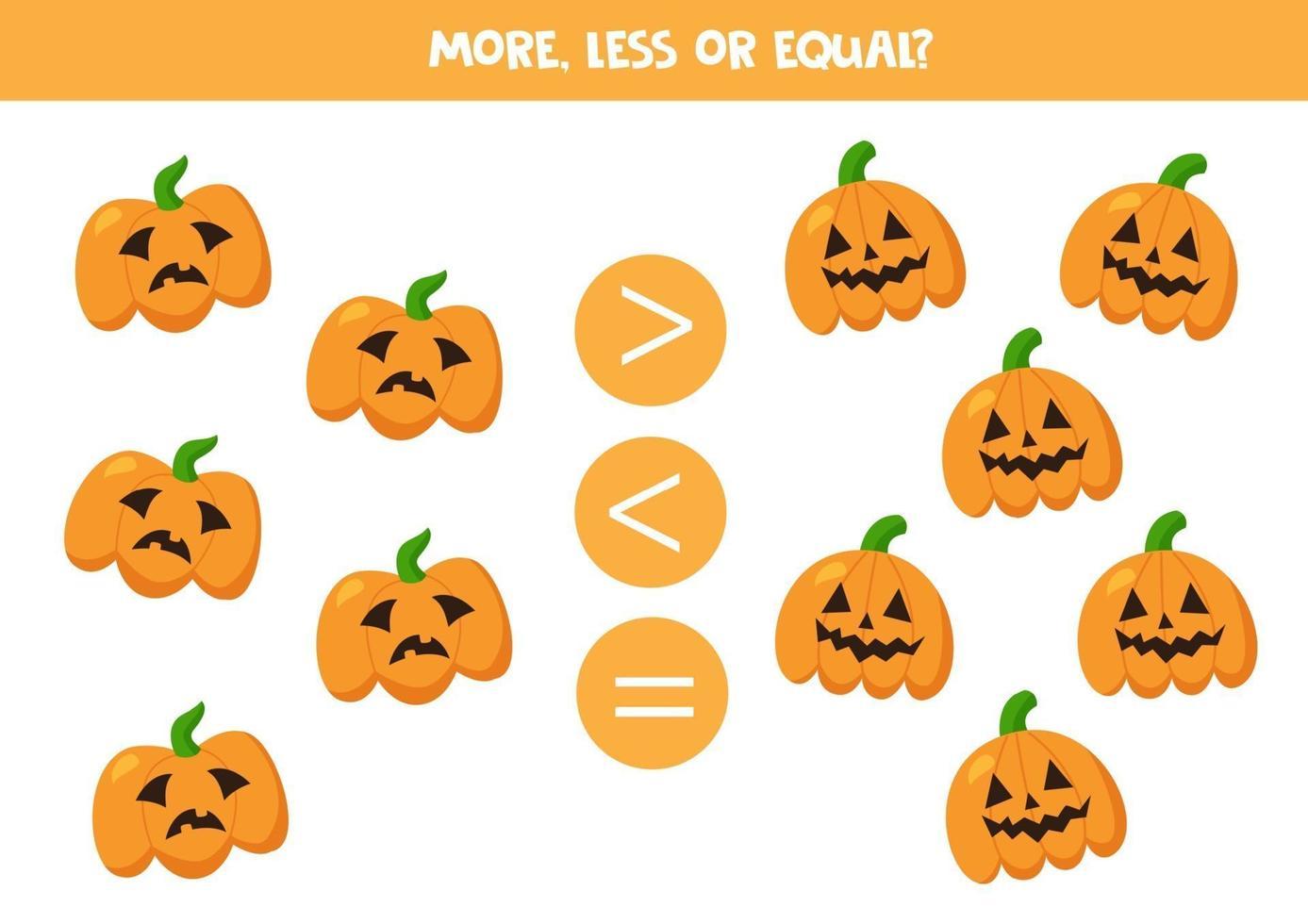 meer, minder, gelijk aan griezelige halloween-pompoenen. vector