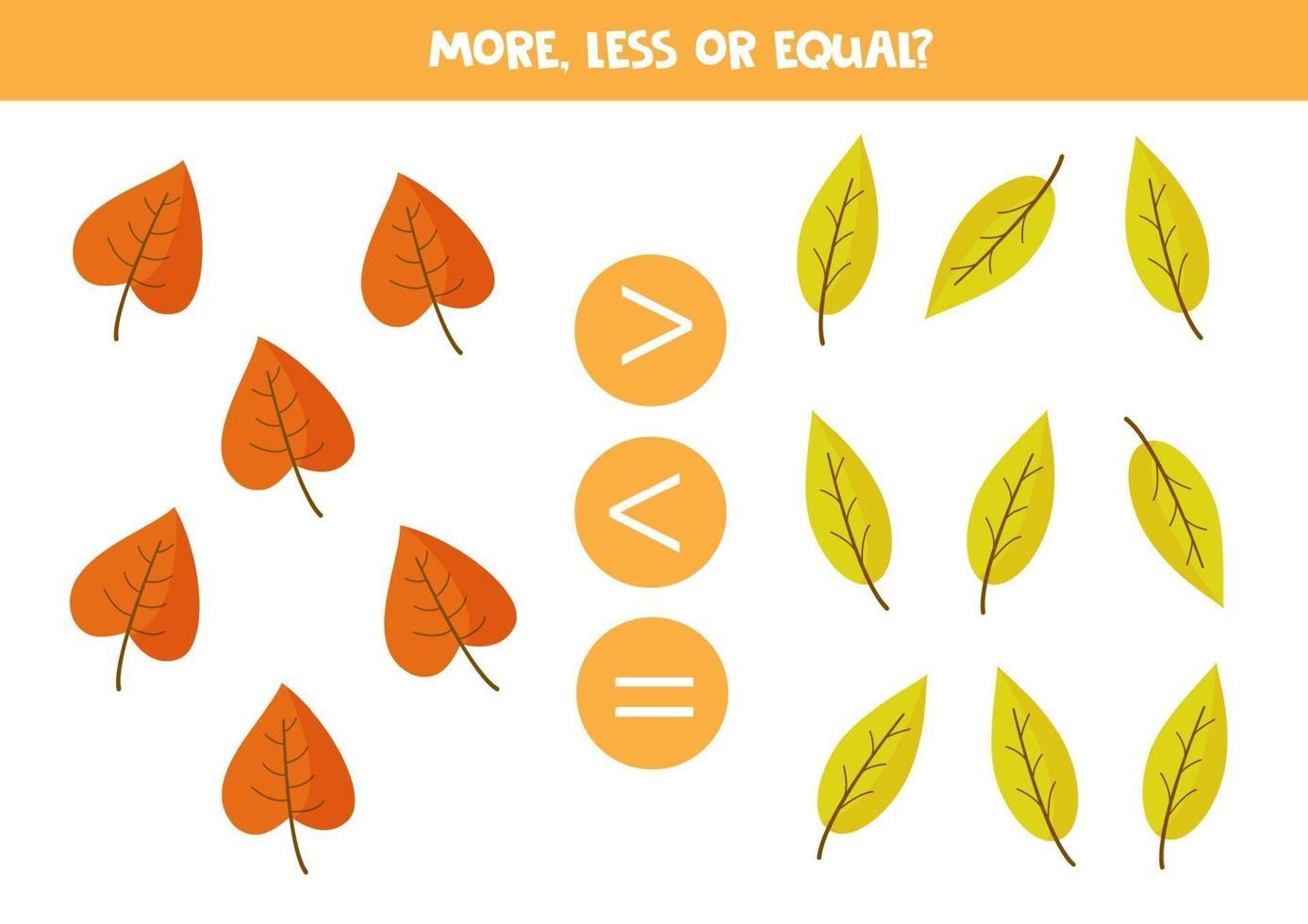 meer, minder, gelijk aan cartoon herfstbladeren. vector