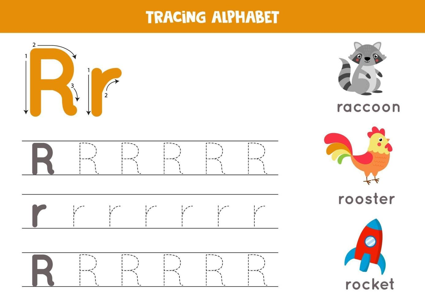 alfabet letter r traceren met schattige cartoonafbeeldingen. vector