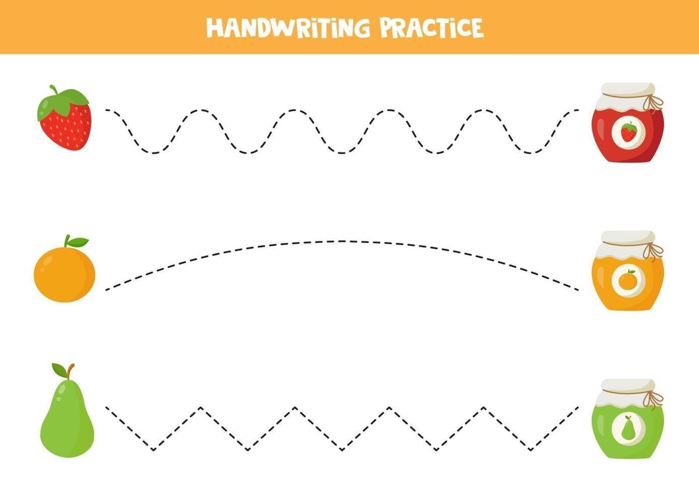 handschriftoefening voor kinderen. schattige potten jam en cartoon fruit. vector