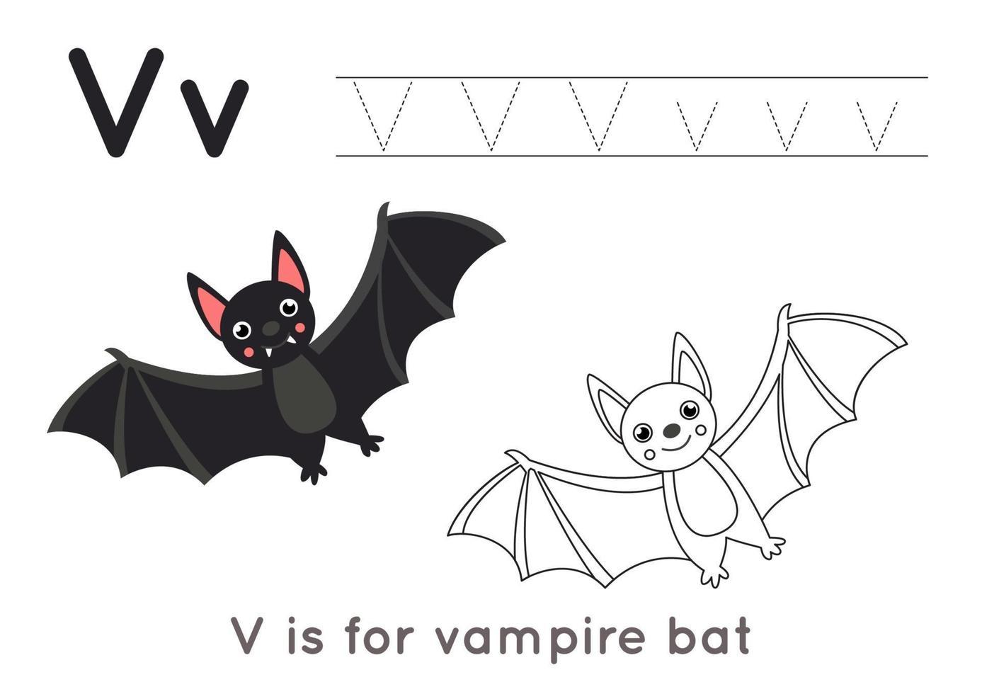 kleurplaat met letter v en schattige vampier. vector