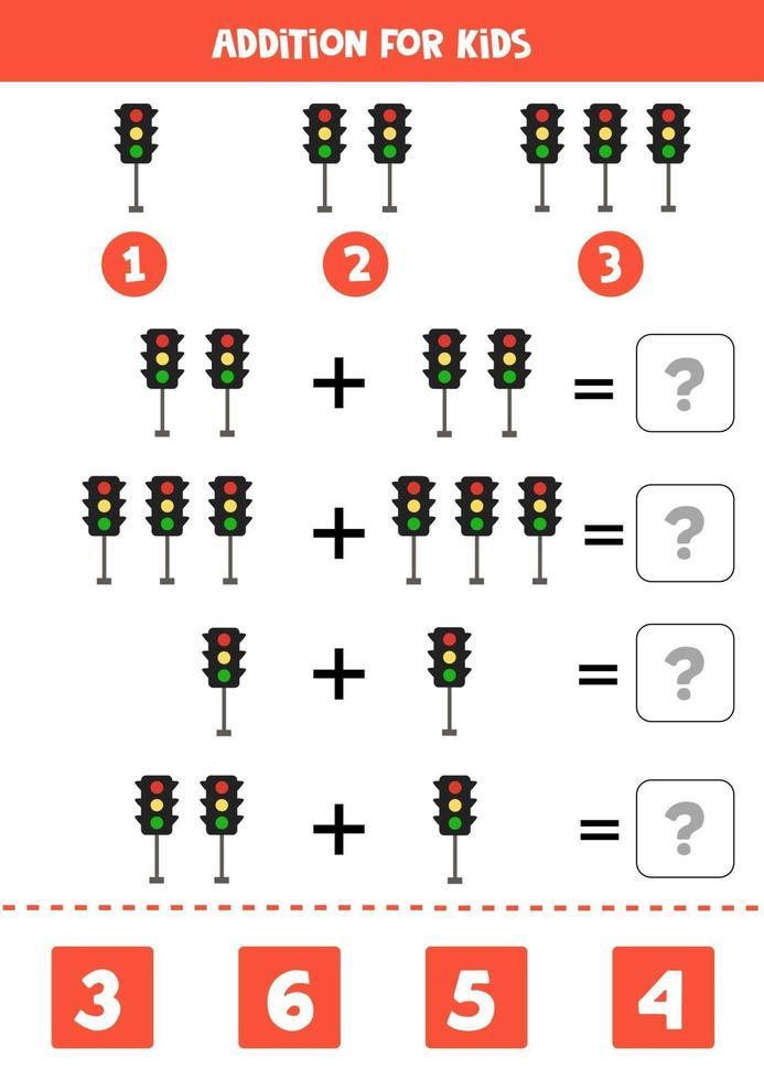 toevoeging werkblad met cartoon verkeerslichten. wiskunde spel. vector