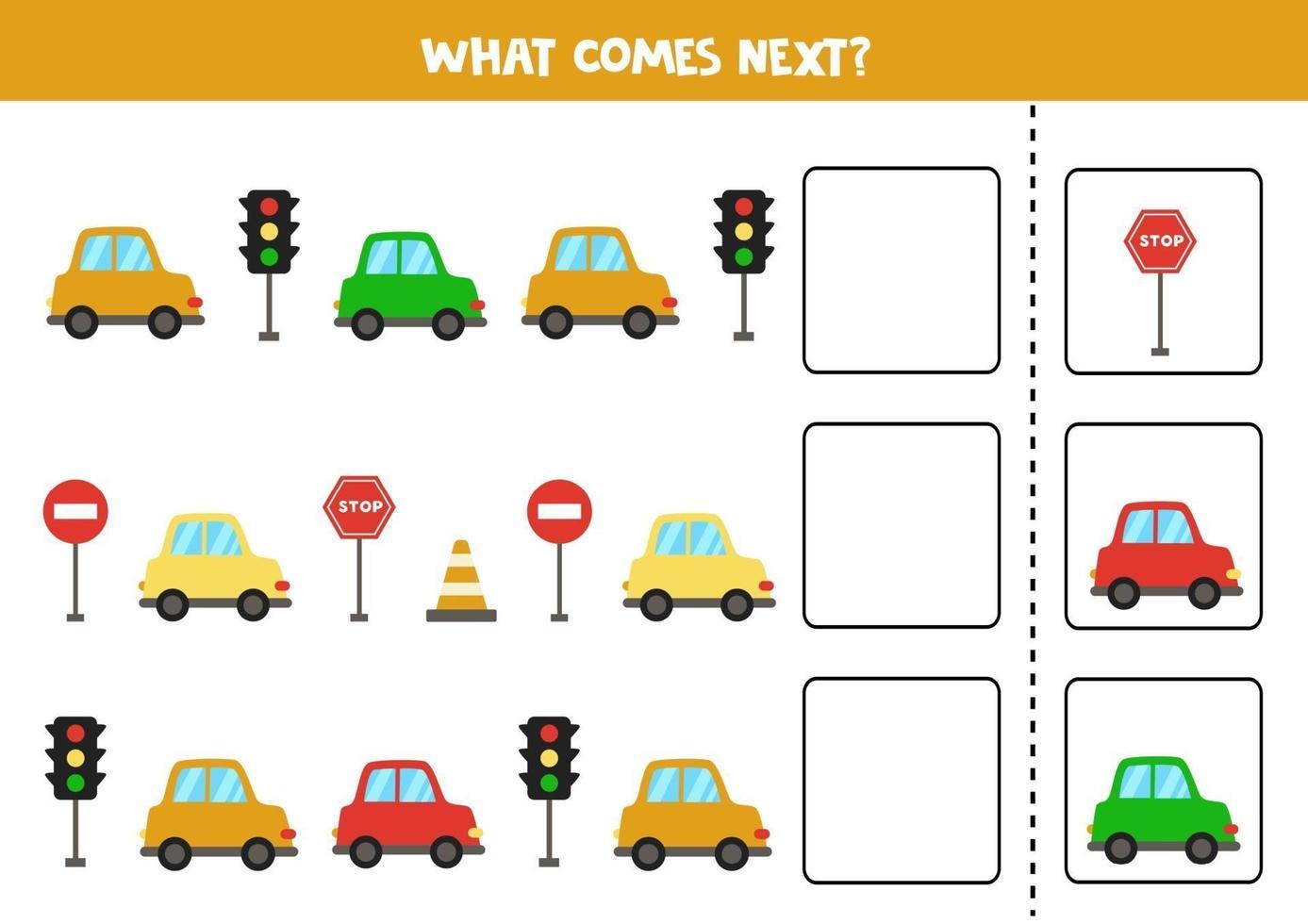 wat komt er volgende game met kleurrijke auto's. vector