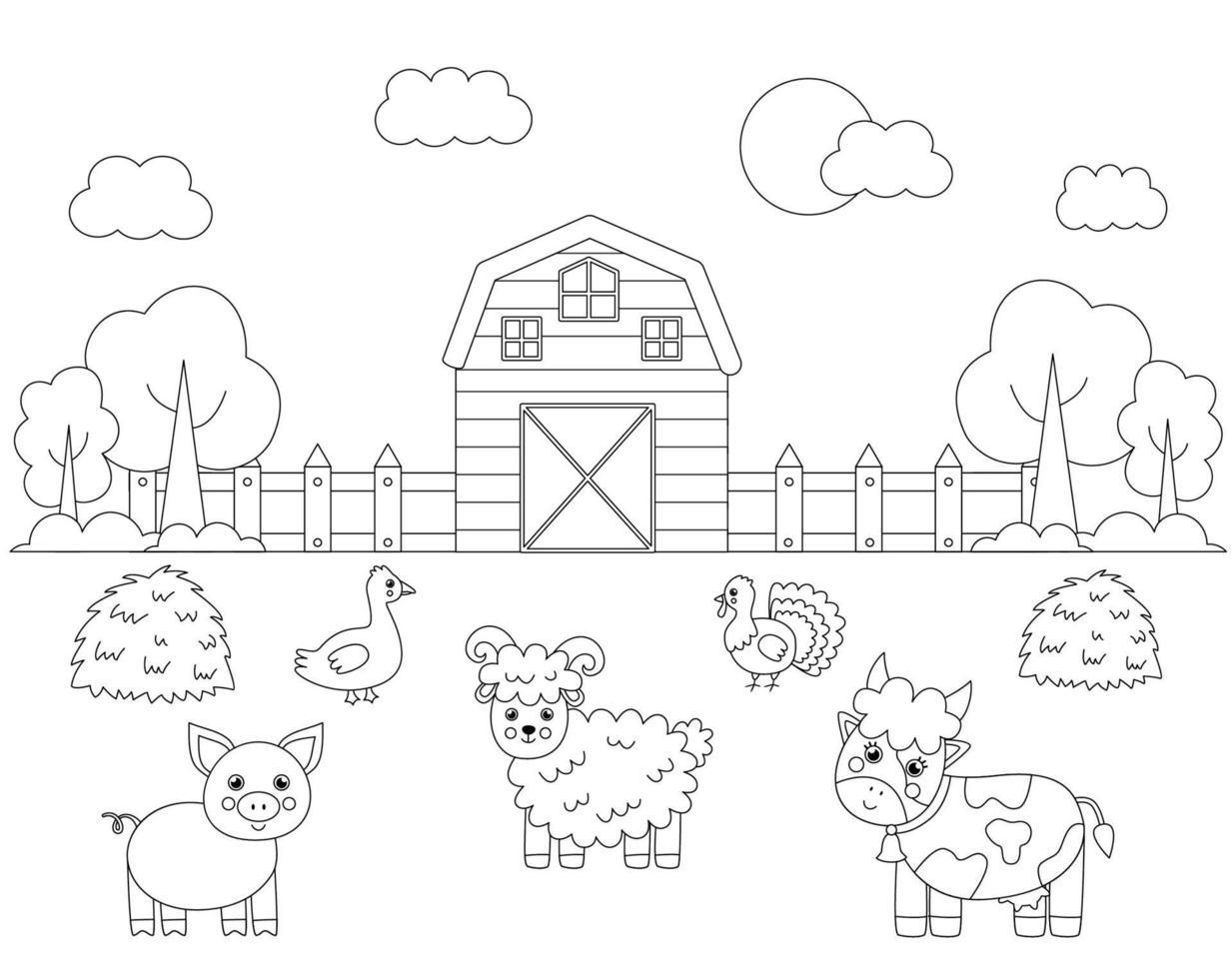 kleur boerderijdieren in veld. kleurplaat voor kinderen. vector