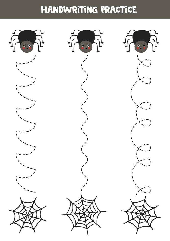 traceer de lijnen met schattige spin en zijn web. Schrijf oefening. vector