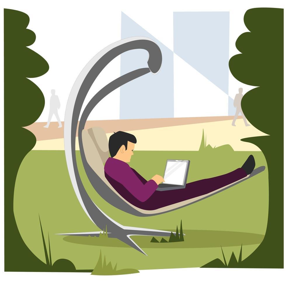 een man rust op een openbare plaats vector