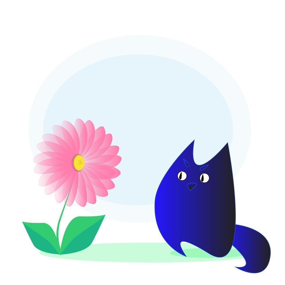 indigo kat en bloem vector