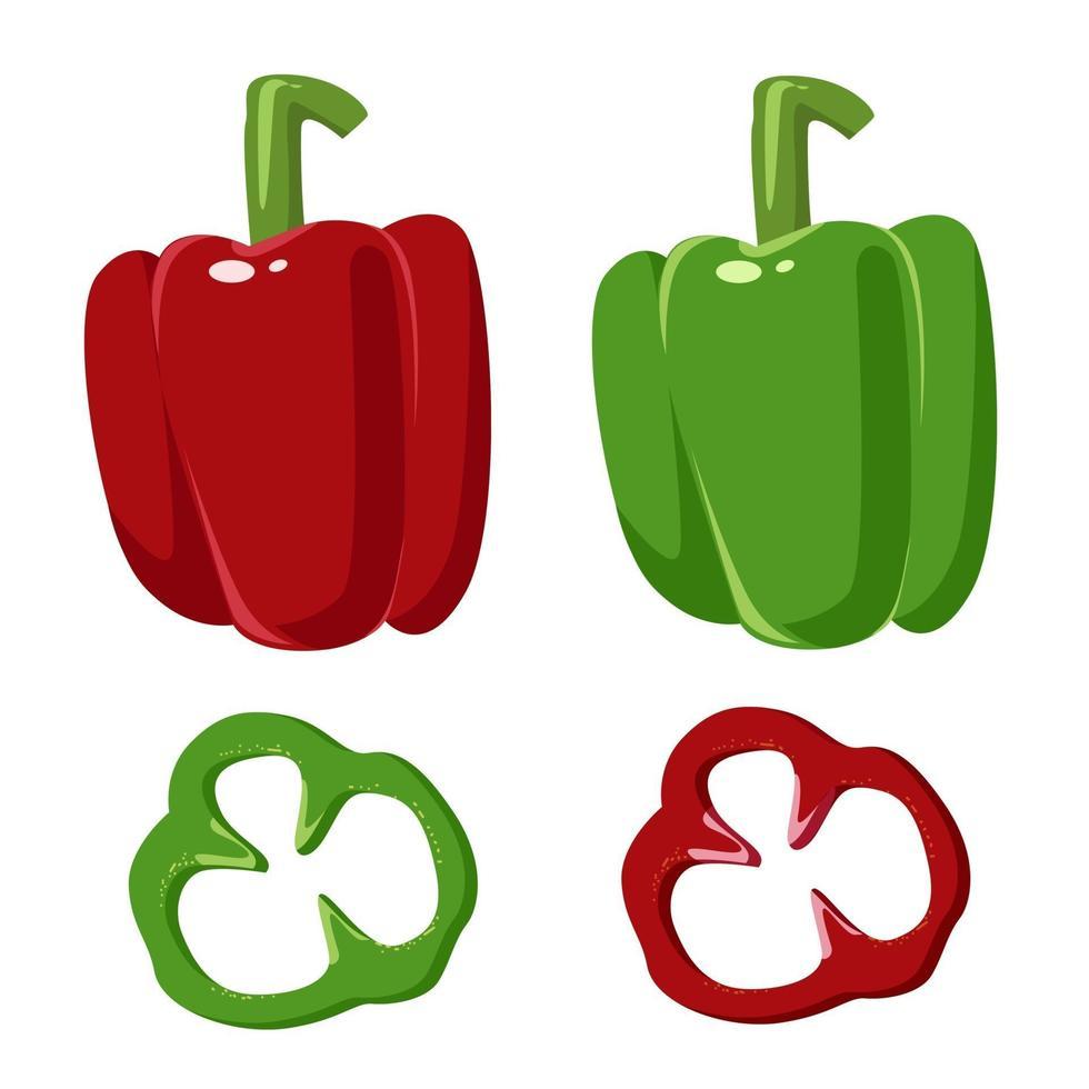 rode en groene paprika vector