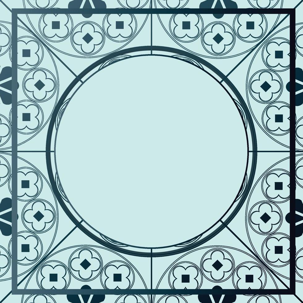 floral middeleeuwse patroon achtergrond sjabloon cirkel blauwe tinten vector