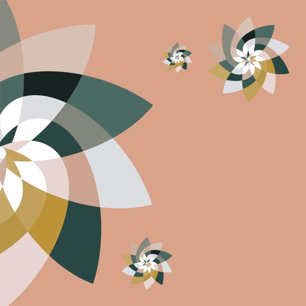 grafische bloemsjabloon met kopie ruimte perzik teal vector