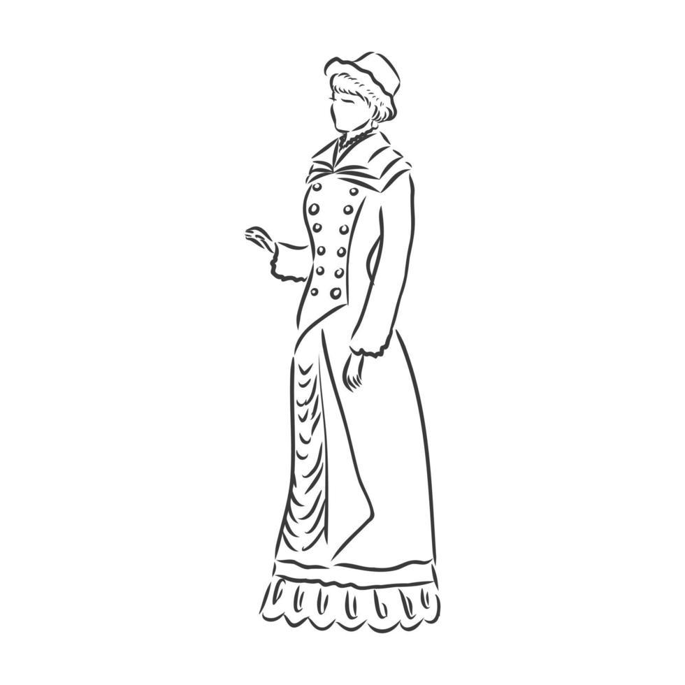 antiek geklede dame. oude mode vectorillustratie. Victoriaanse vrouw in historische kleding. vintage gestileerde tekening, retro houtsnede stijl. retro jurk, vector schets op witte achtergrond