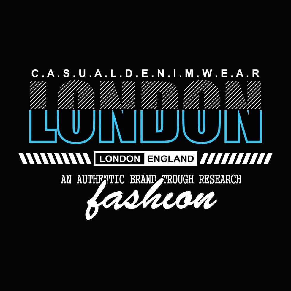 Londen denim typografie t-shirtontwerp vector