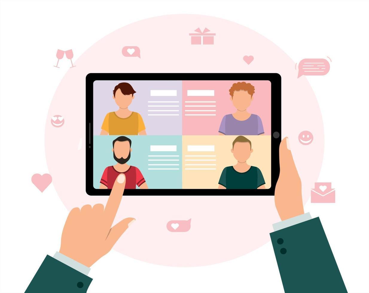 sociale afstand en liefde op internet. online dating lgbt-paar, de hand van een man die een tablet vasthoudt en mannen kiest op een virtuele liefdesapp, vectorillustratie vector
