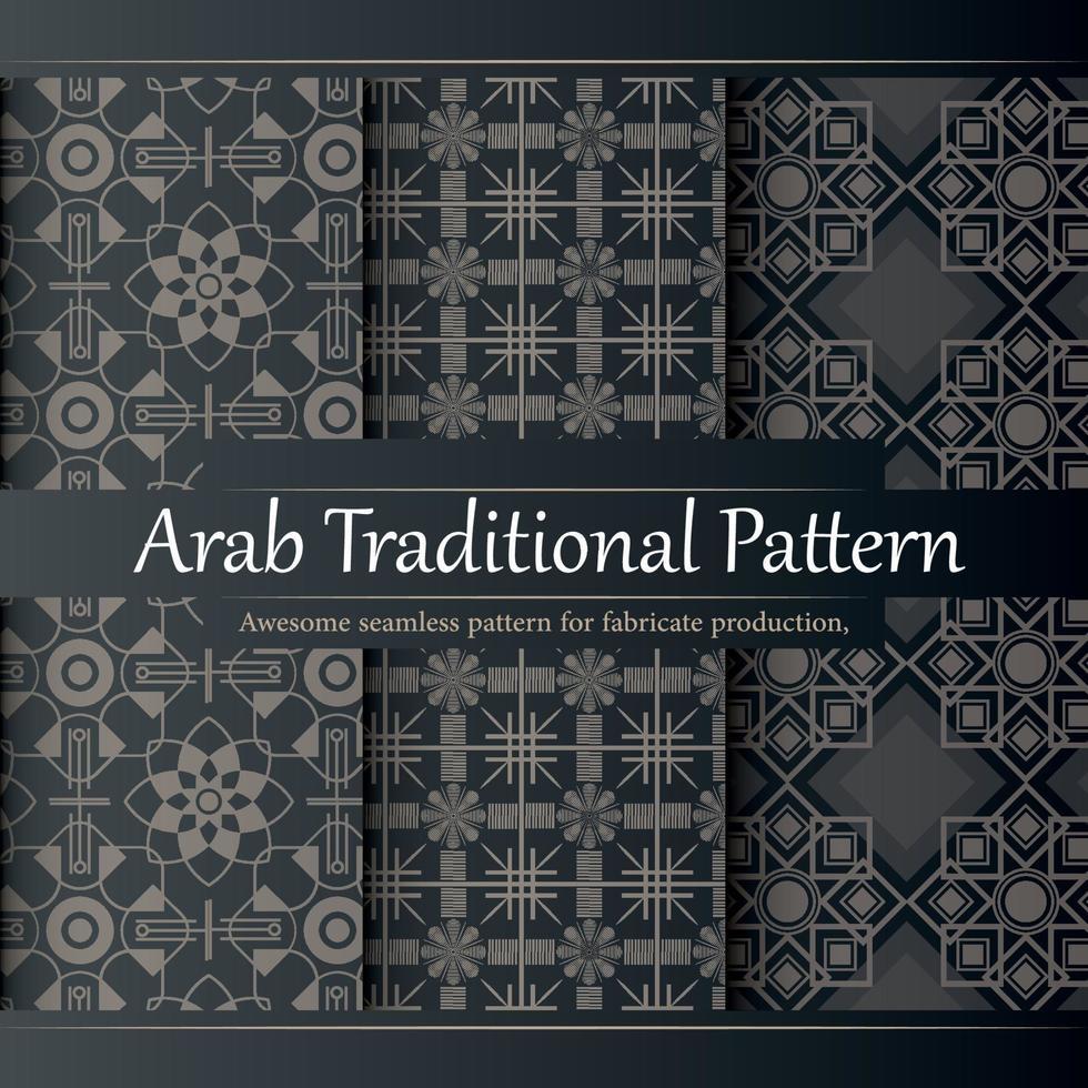 luxe platte ontwerp lineaire Arabische patrooncollectie vector