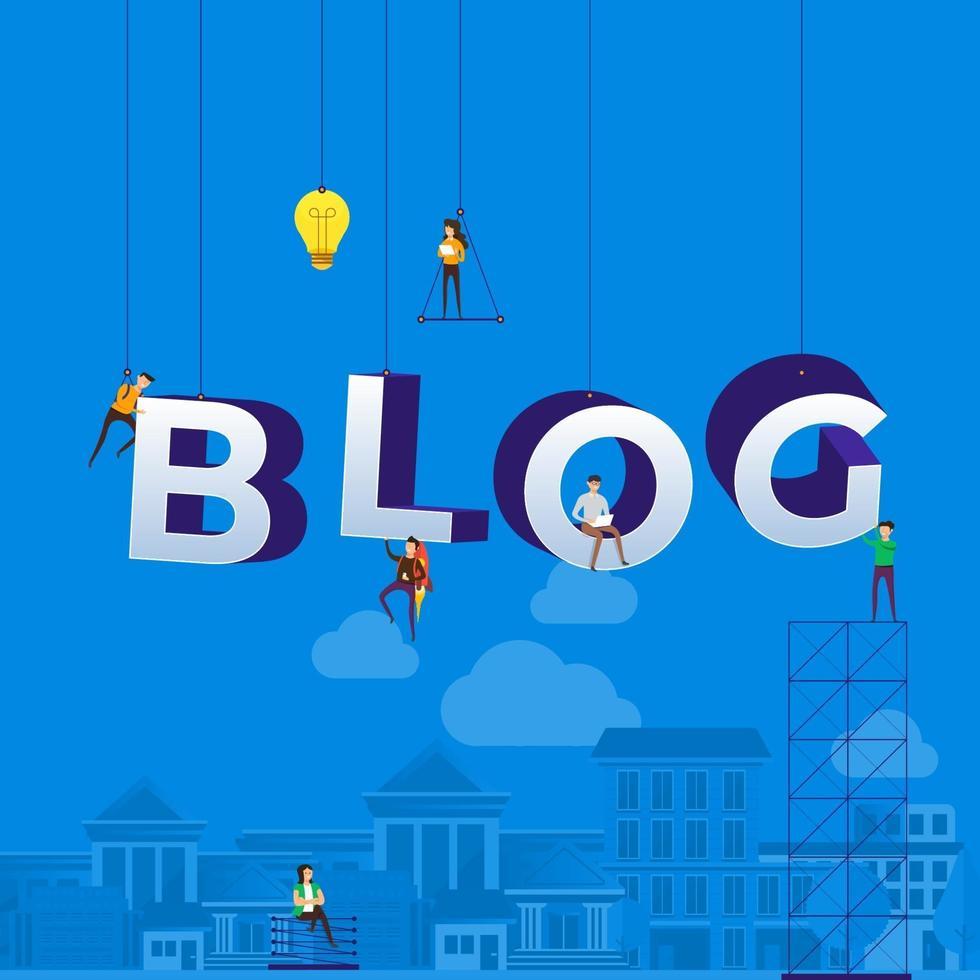 team dat hard aan het werk is om het woord blog op te bouwen vector