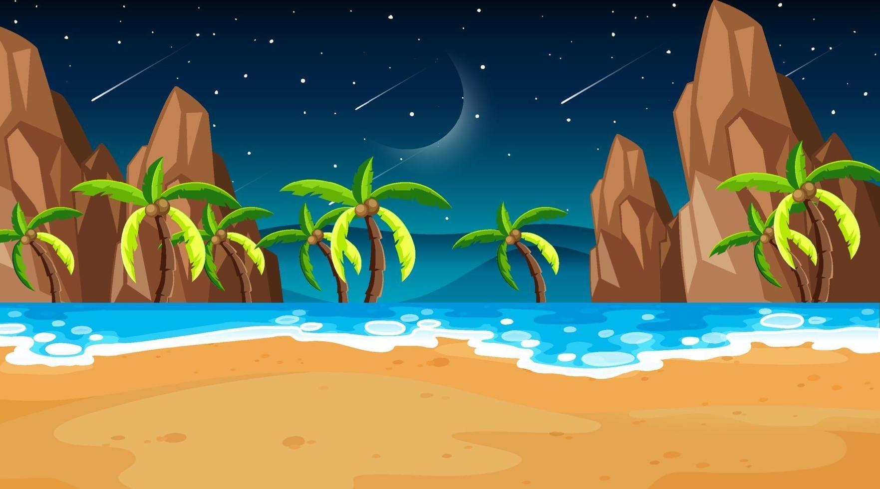 tropische strandscène met veel palmbomen 's nachts vector