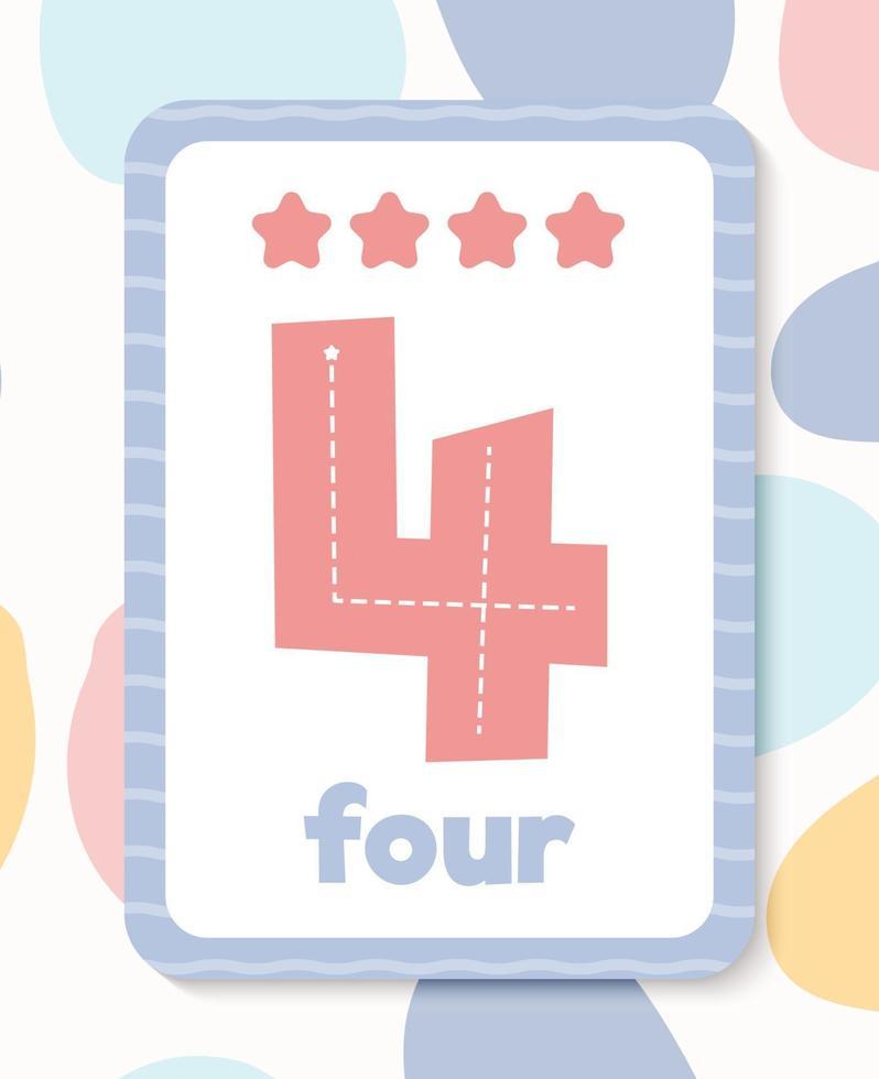 afdrukbare kleurrijke educatieve nummer flashcard vector