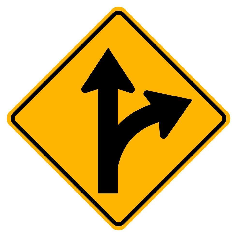 ga rechtdoor of sla rechtsaf verkeersbord vector