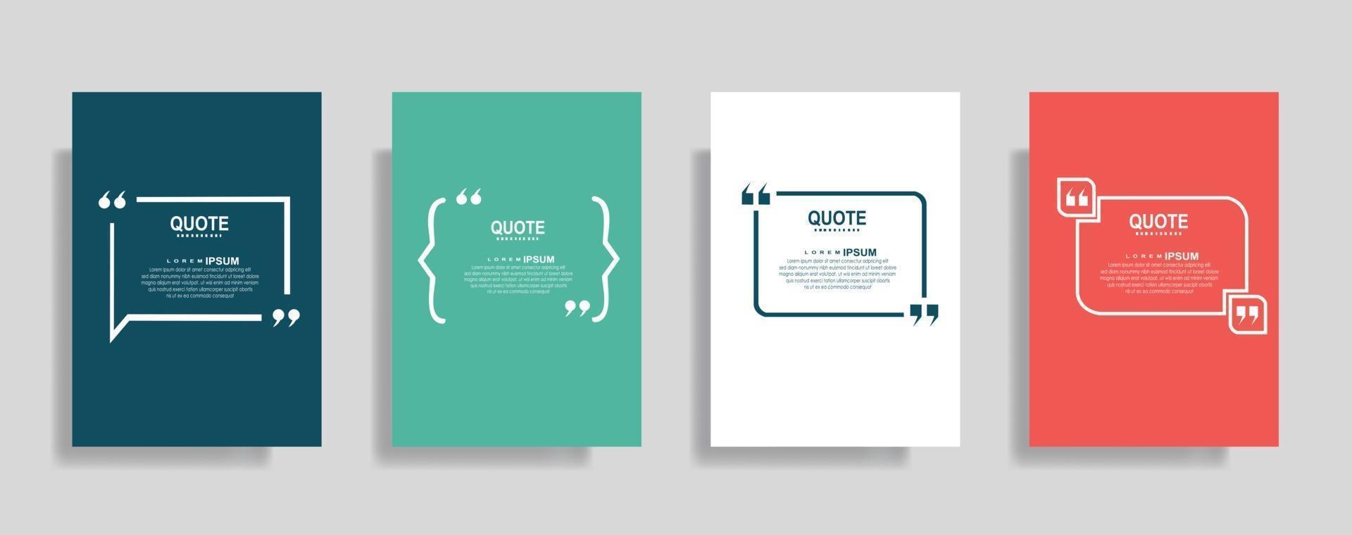 citaten frame lege sjablonen set. tekst tussen haakjes, citaat lege tekstballonnen. tekstvak geïsoleerd op een achtergrond in kleur vector