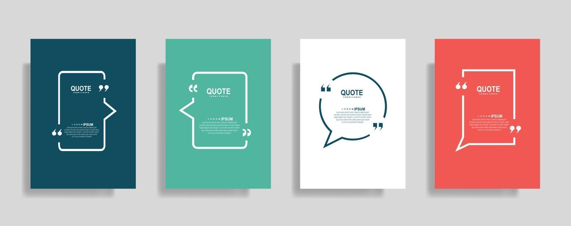 citaten frame lege sjablonen set. tekst tussen haakjes, citaat lege tekstballonnen. tekstvak geïsoleerd op een achtergrond in kleur. vector