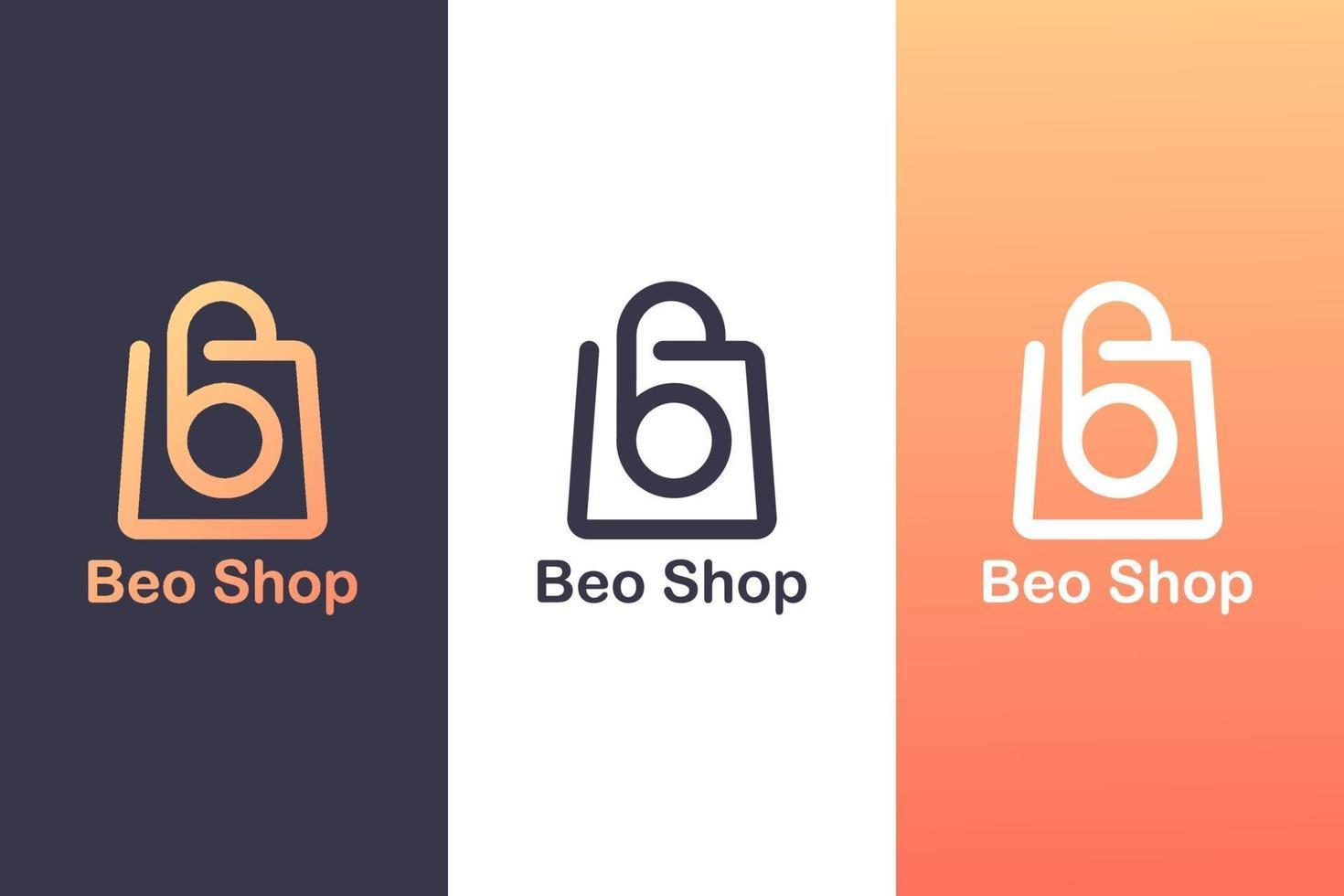 het combineren van het letter b-logo met een boodschappentas, het concept van een winkellogo. vector