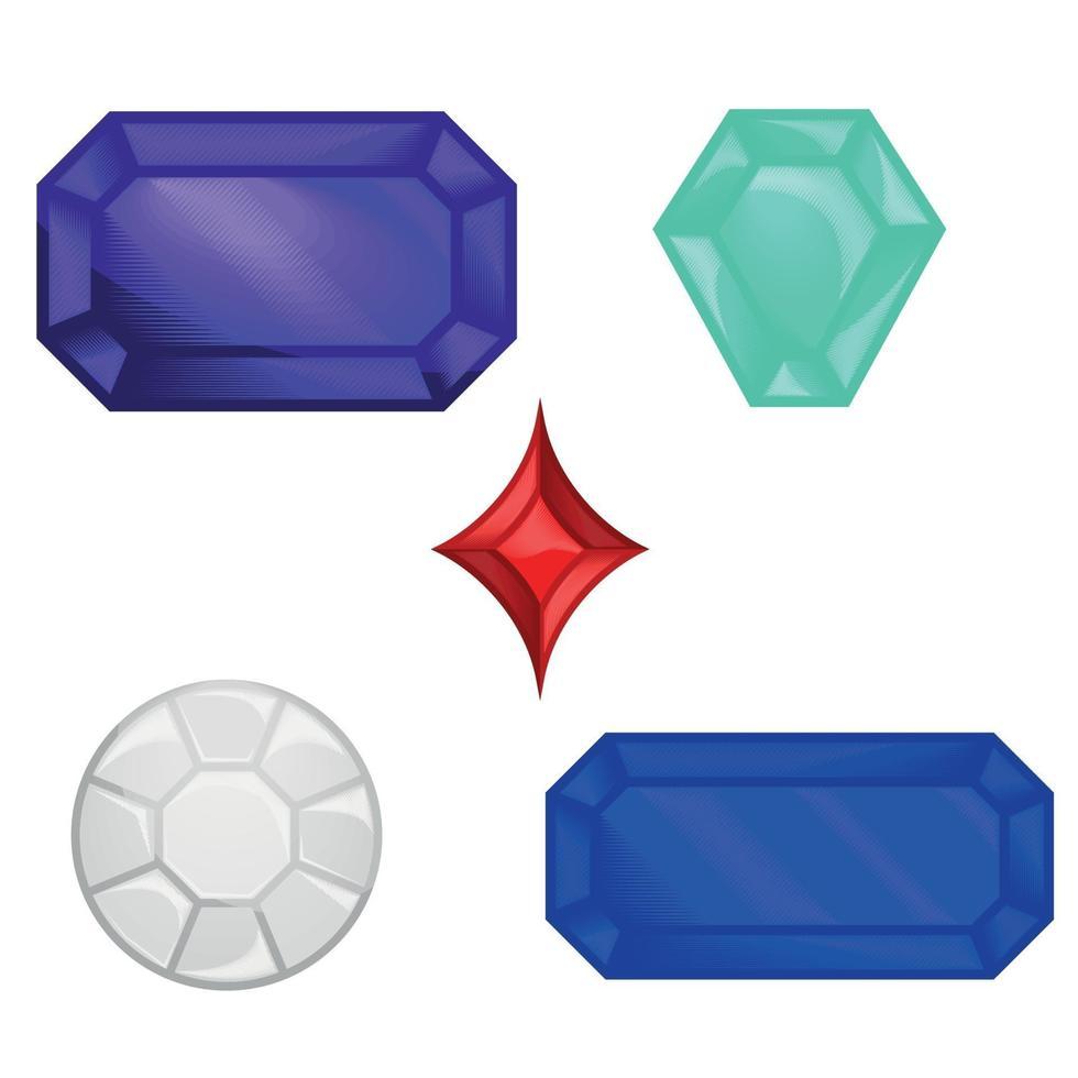 diamanten, robijn, saffier en andere kostbare edelstenen vector