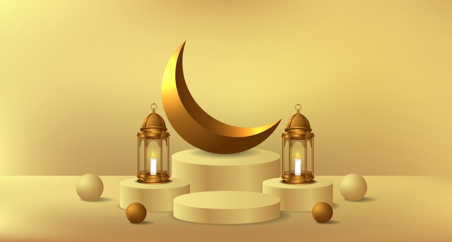 ramadan islamitische gebeurtenis met gouden lantaarn en cilinderpodium productweergavesjabloon vector