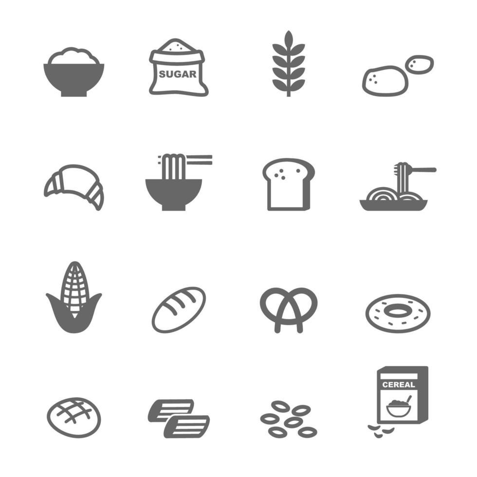 koolhydraten voedsel pictogrammen vector