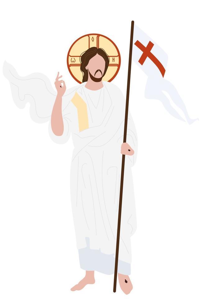 opstanding van Christus pictogram. hij overwon de dood en werd opgewekt. Christus staat met de vlag van de overwinning op een achtergrond met decor. vector illustratie