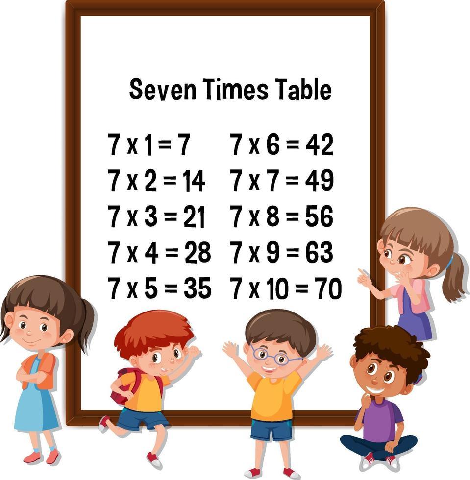 zeven keer tafel met veel kinderen stripfiguur vector