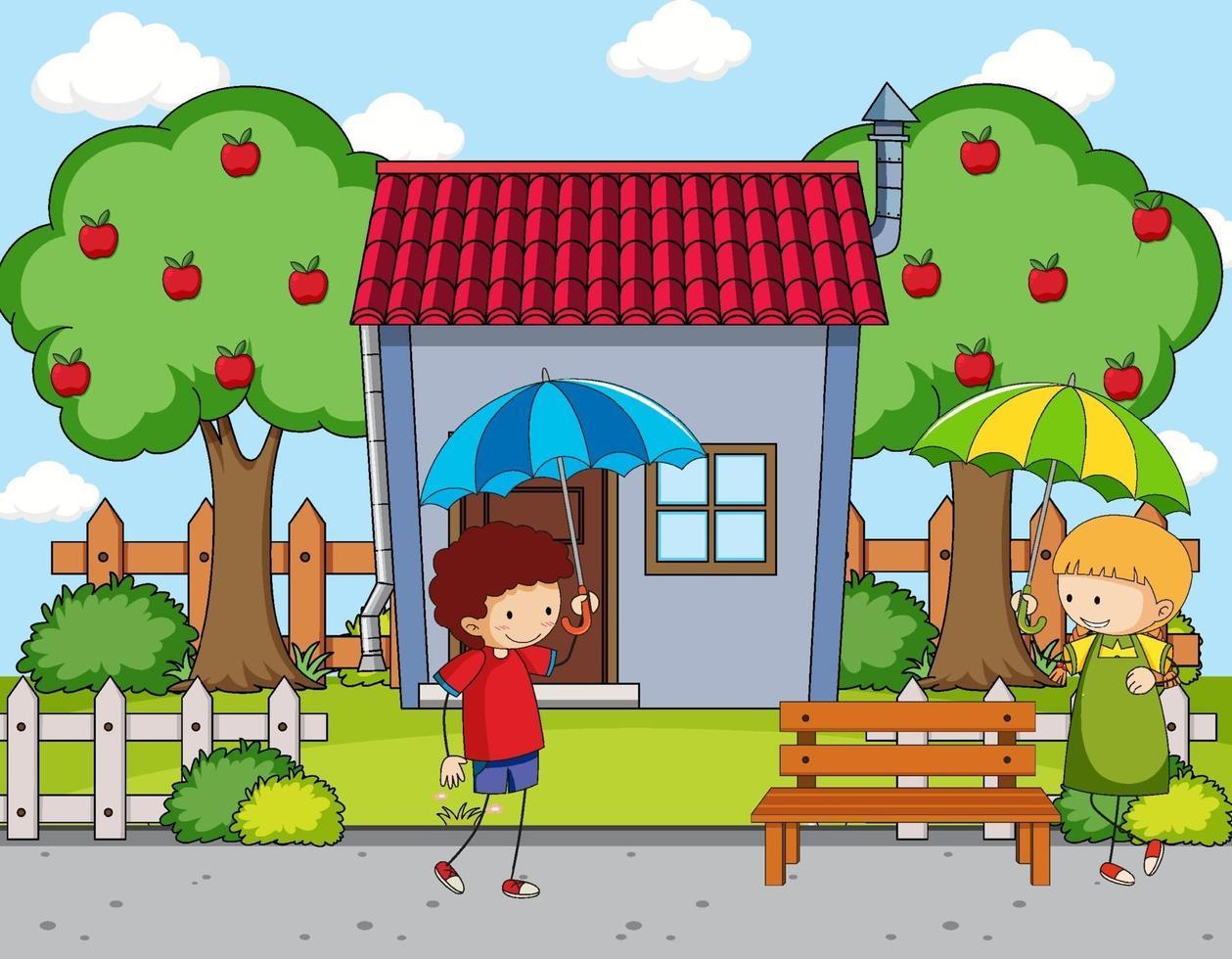 voorkant van huis scène met twee kinderen met paraplu vector