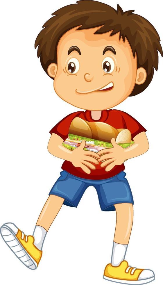 een jongen met voedsel stripfiguur geïsoleerd op een witte achtergrond vector