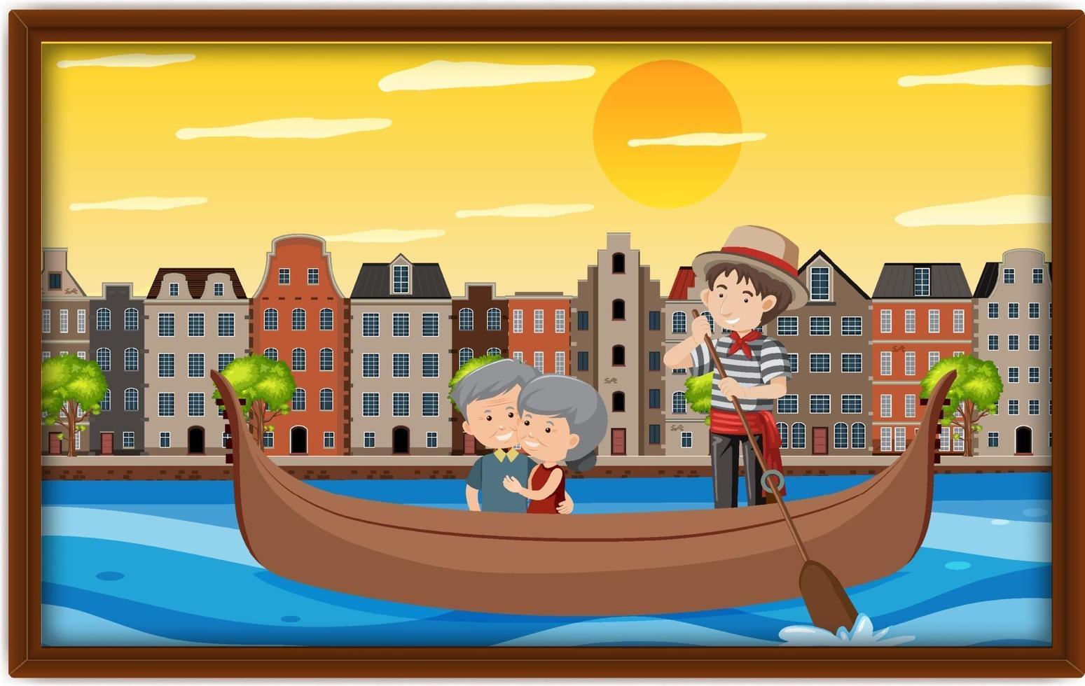 een foto van een oud echtpaar op een gondelboot in Venetië vector
