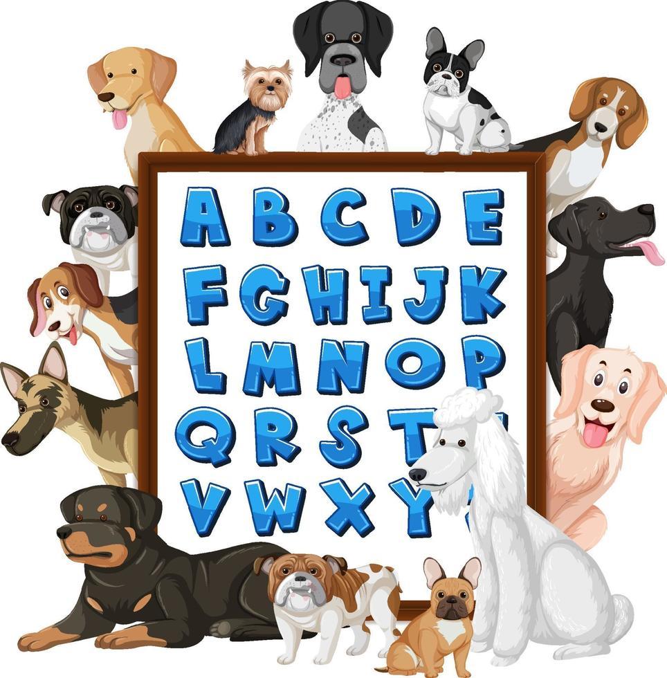 az alfabetbord met veel verschillende soorten honden vector