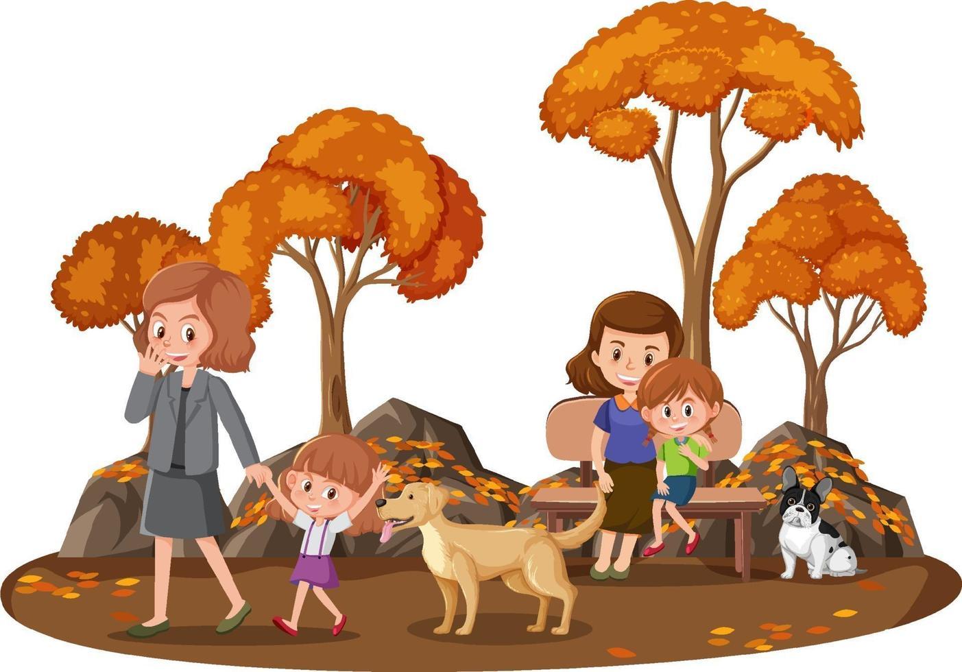 gelukkige familie in het park met veel herfstboom vector