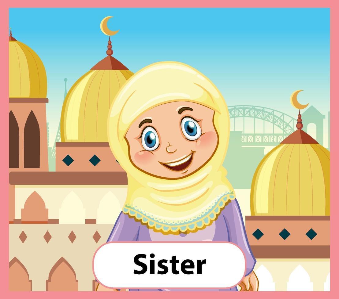 educatieve Engelse woordkaart van zus vector
