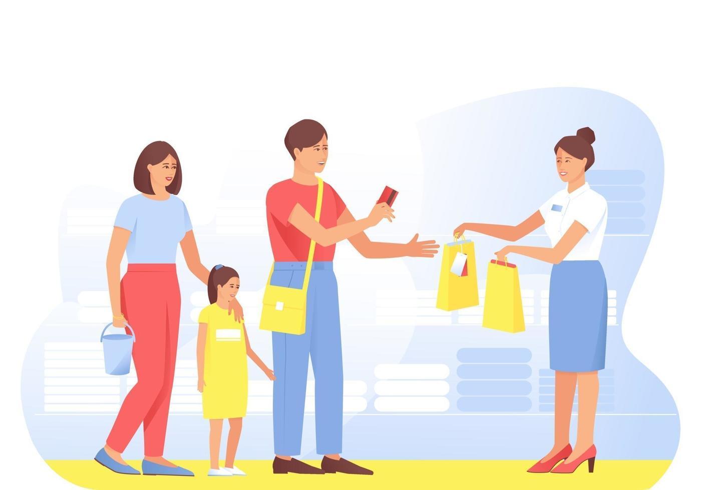 het gezin doet aankopen bij de verkoper in de winkel vector