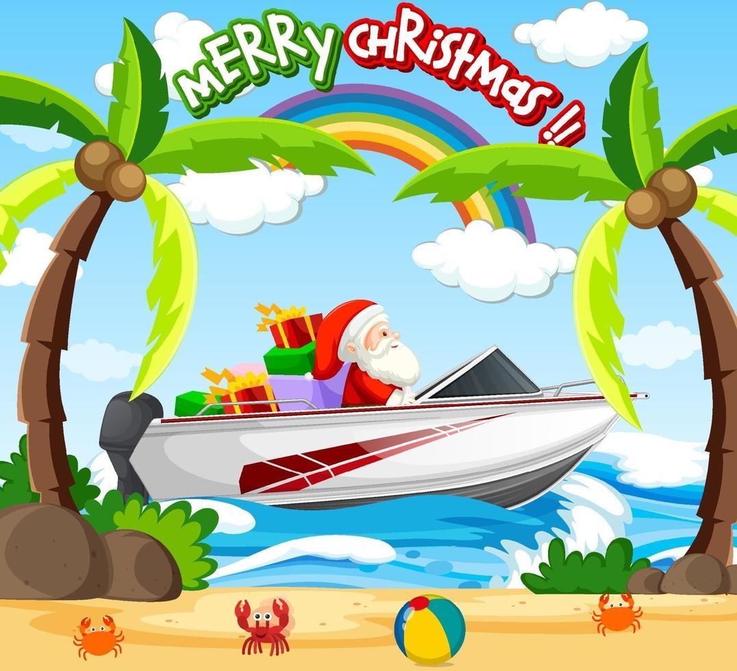 Kerstman drijvende speedboot op het strand vector
