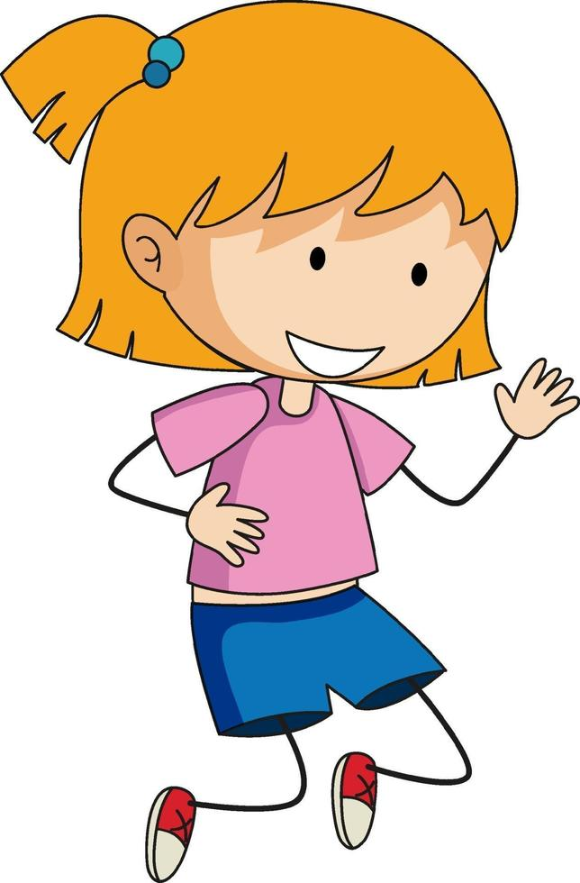 een meisje stripfiguur in doodle stijl geïsoleerd vector