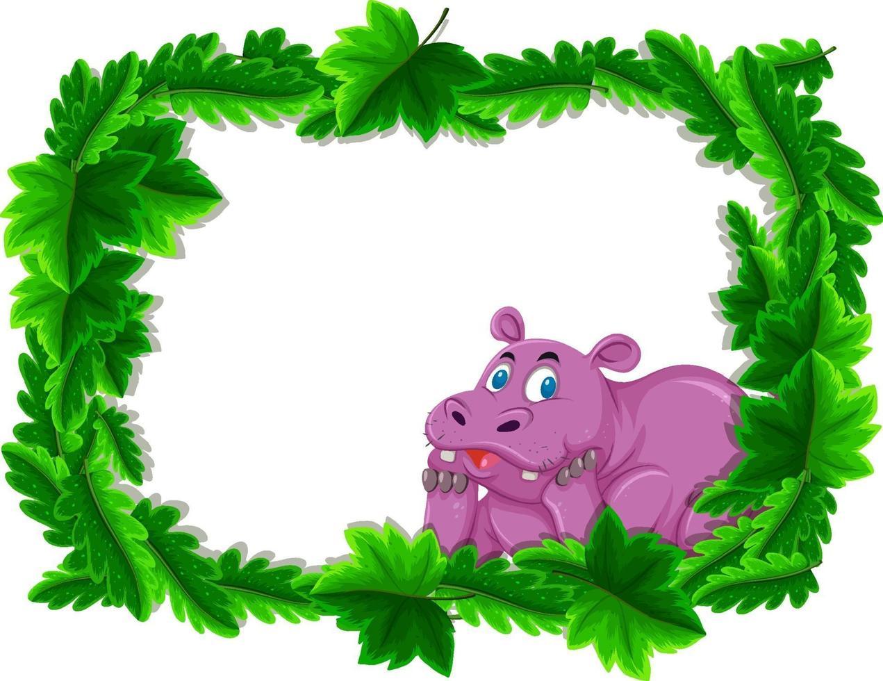 lege banner met tropische bladeren frame en nijlpaard stripfiguur vector