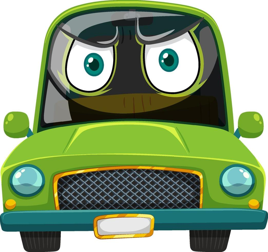 groene vintage auto stripfiguur met een boze gezichtsuitdrukking op een witte achtergrond vector