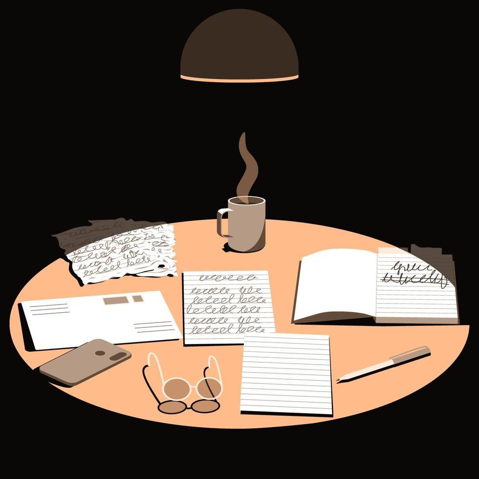 bovenaanzicht op tafeloppervlak verlicht door lamplicht vector